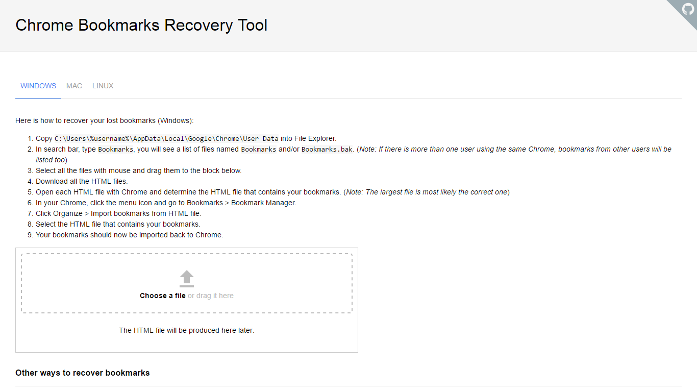 Chrome Bookmarks Recovery Tool